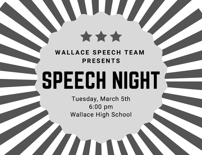 Speech night 3/5/19 6:00pm