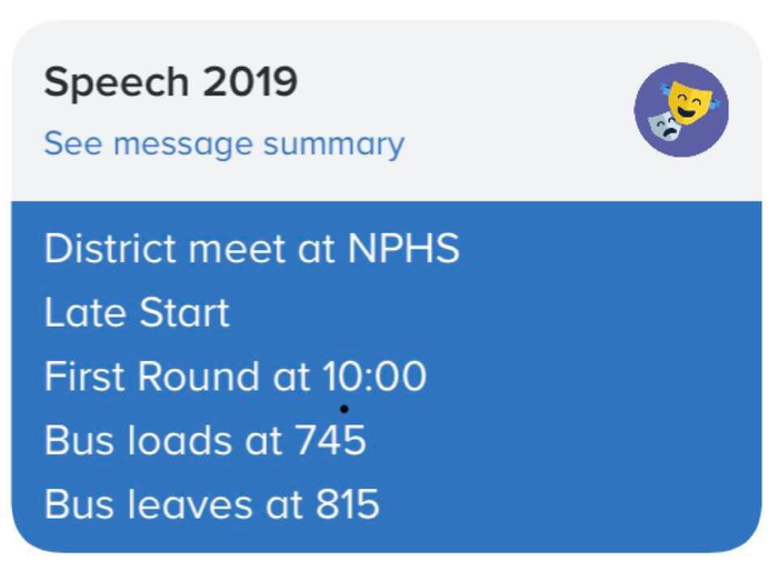 District speech starts at 10:00 3/15 NPHS