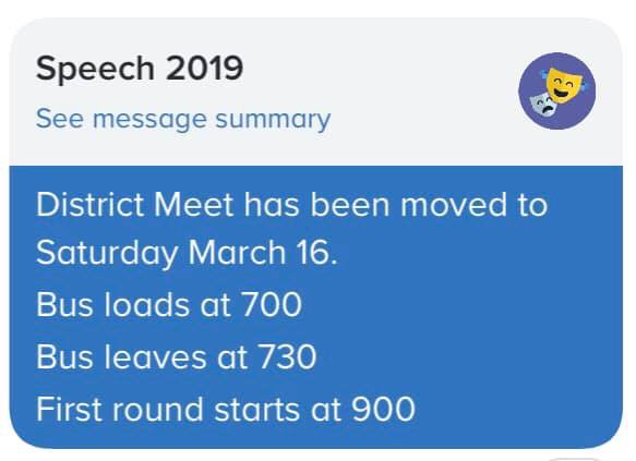 Saturday, March 16th 9:00am district speech @ NPHS