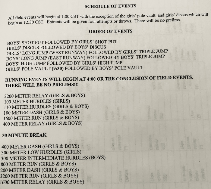 Sutherland Invite schedule - 12:30pm start