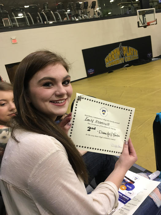 Emily K. finished 2nd in the Drama Art / Theater test!