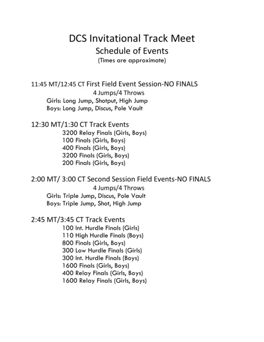 DCS Invite Schedule of Events