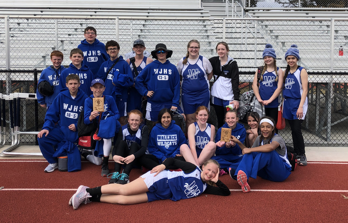 Jh track team after their 2nd place finishes at the Paxton Invite.