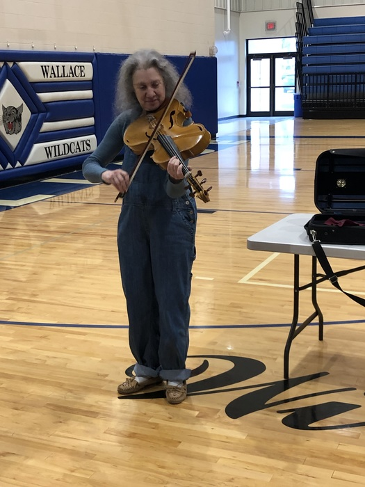 Ms. Greenblatt playing her unique fiddle.
