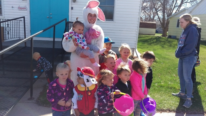 preschool children with the Easter Bunny