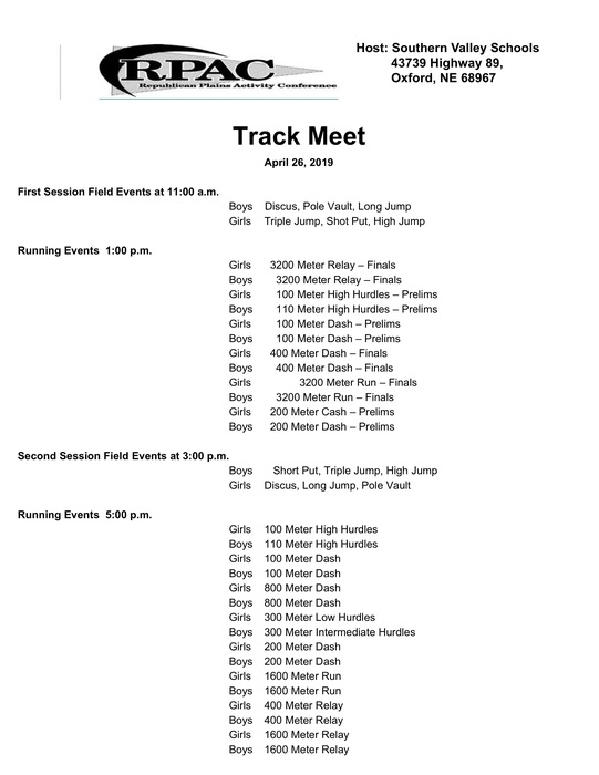 RPAC schedule - 1st session field events 11:00am