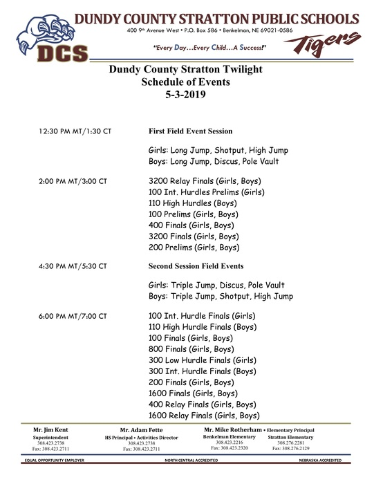 DCS Twilight events start at 1:30ct