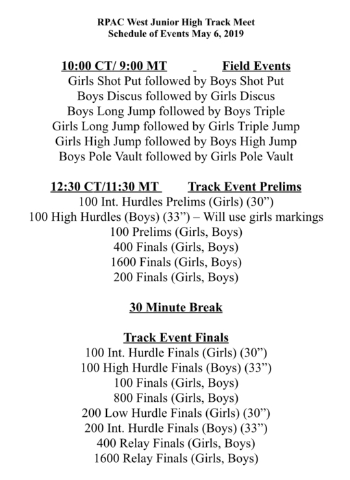 Jh RPAC schedule
