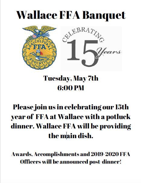 FFA banquet at 6:00pm May 7th