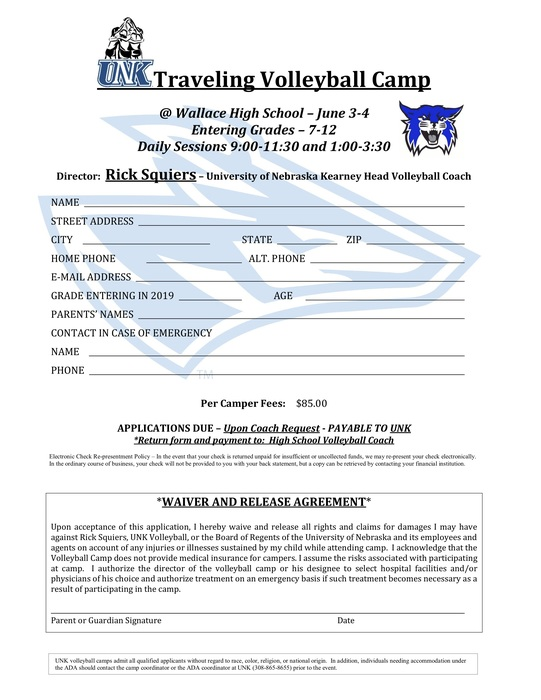 UNK VB Camp registration
