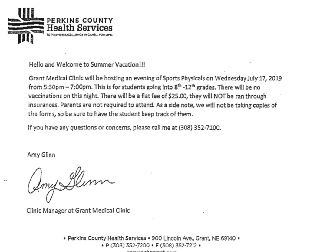 Grant medical clinic physicals 7/17 $25