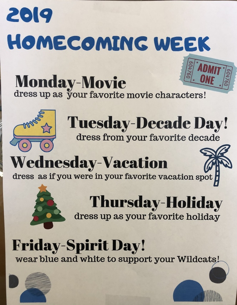 schedule of dress up days for homecoming