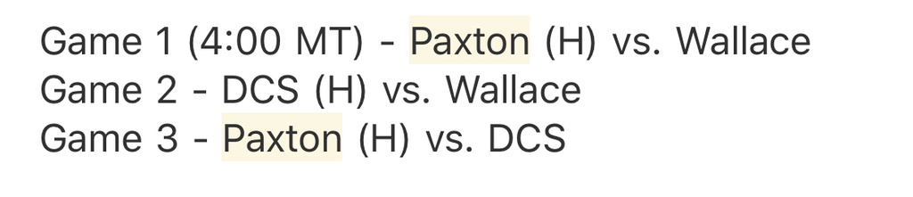 Tri schedule Wallace 1st 2 games