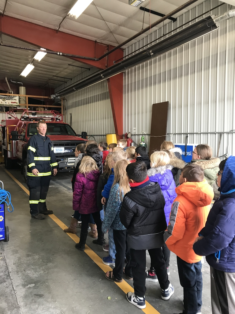 Learning about fire safety from some of Wallace's volunteers!