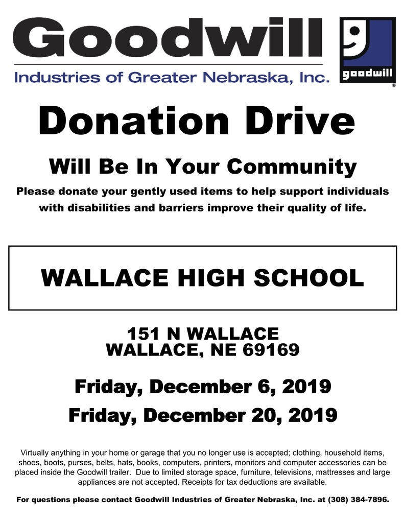 Goodwill donation trailer at WHS Dec. 6-20th.