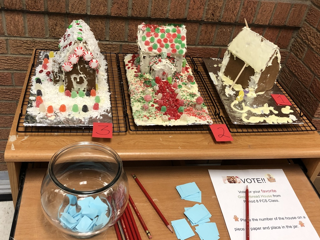 The three gingerbread houses created by the FCS class