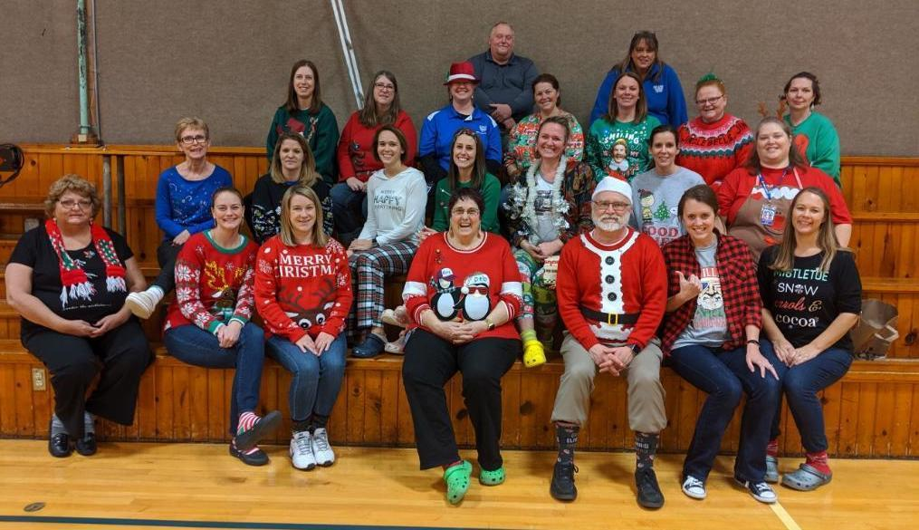 Wallace Staff on Ugly Christmas sweater day