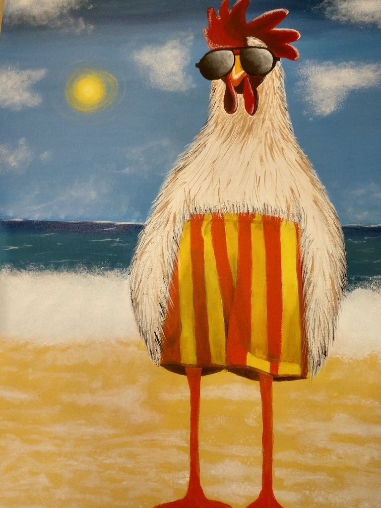 "Denay Pelster Wallace Medal Winner ""Funky Chicken"" Acrylic Painting"