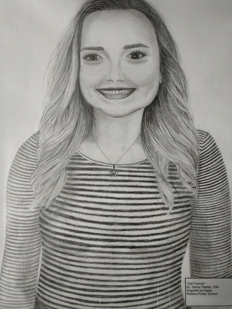 "Denay Pelster, 2nd Honorable Mention ""Self Portrait"", Graphite Drawing"