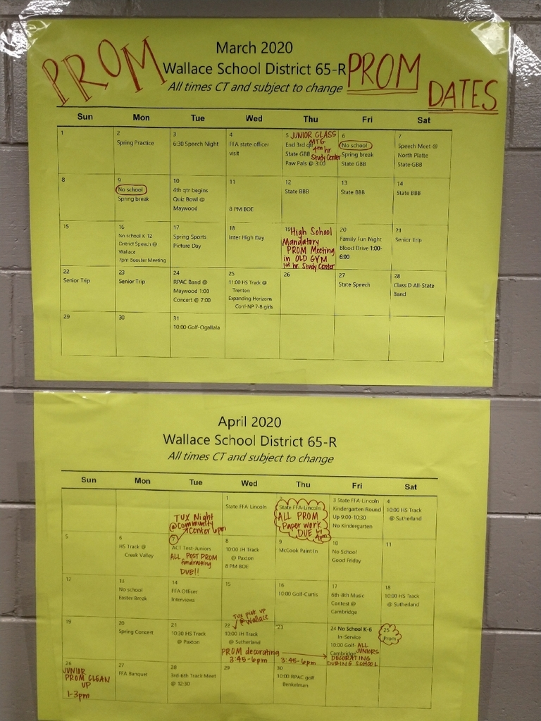 March and April Prom Activity Calendars