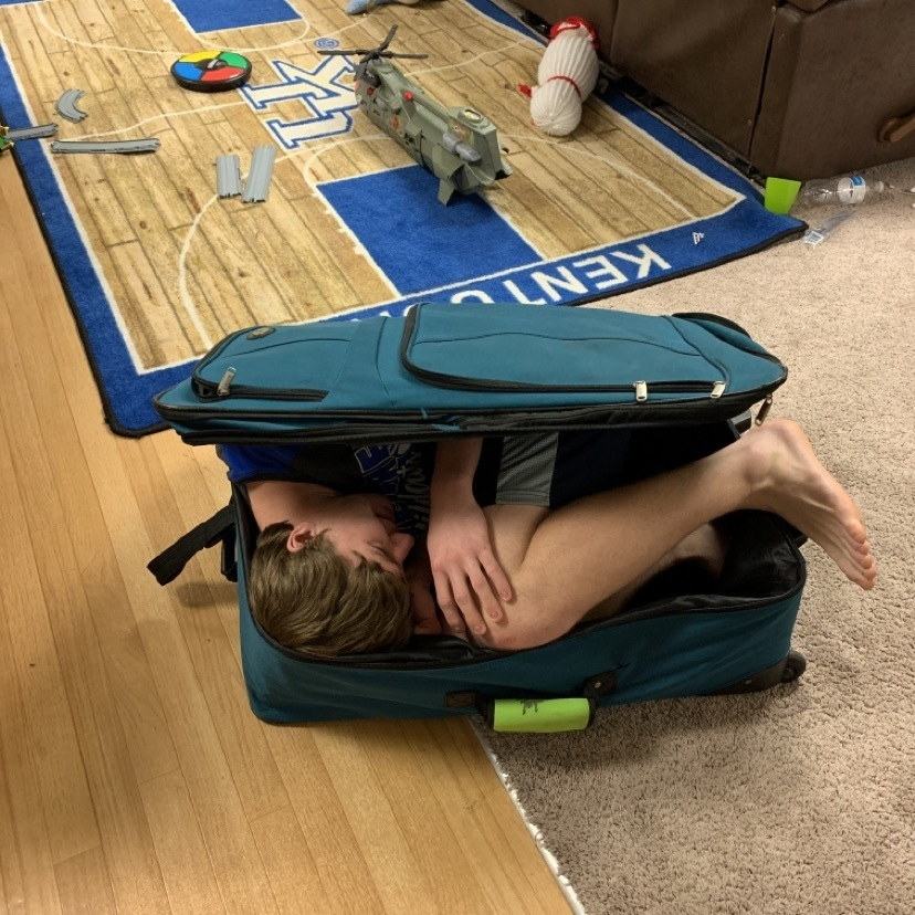 Boy in a suitcase